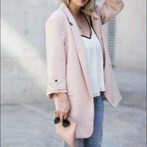 Zara Pale Pink Blazer Rolled-Up Ruched Sleeves